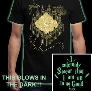 NEW Mens M Hogwarts Glow in Dark Marauders Map Tee